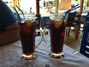 The huge drinks at Zorbas!