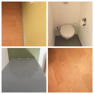 Pic 1, Dirt on floor pic 2, Small bathroom pic 3, dust all over lights pic 4, rubbish on the floor