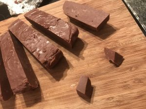 Slow cooker chocolate fudge - fudge cut up